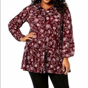 Style & Co. Womens Plus Teired Floral Blouse